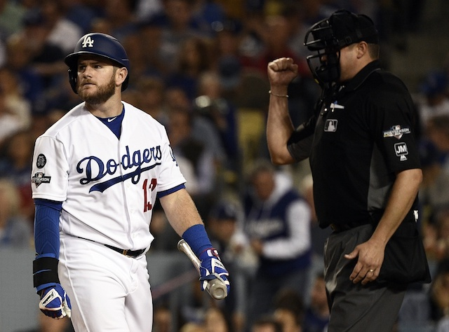 Los Angeles Dodgers infielder Max Muncy reacts after striking out during Game 2 of the 2019 NLDS