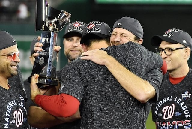 Max Scherzer celebrates after the Washington Nationals win the 2019 National League pennant