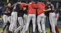 Max Scherzer and the Washington Nationals celebrate after eliminating the Los Angeles Dodgers in Game 5 of the 2019 NLDS
