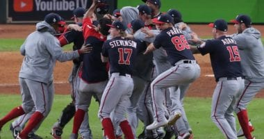 Washington Nationals celebrate after defeating the Houston Astros in Game 7 of the 2019 World Series