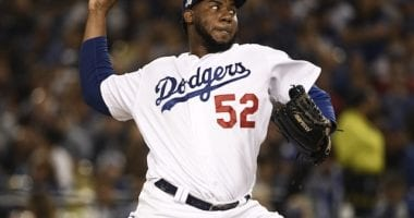 Los Angeles Dodgers relief pitcher Pedro Baez during Game 2 of the 2019 NLDS