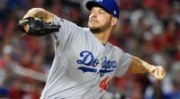 Los Angeles Dodgers starting pitcher Rich Hill in Game 4 of the 2019 NLDS