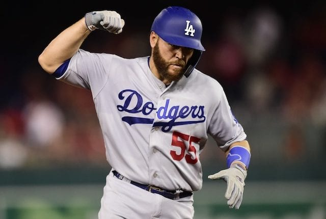 Los Angeles Dodgers catcher Russell Martin rounds the bases after hitting a home run in the 2019 NLDS