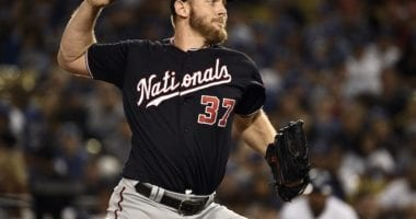 Washington Nationals starting pitcher Stephen Strasburg during Game 2 of the 2019 NLDS