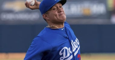 Los Angeles Dodgers Minor League pitcher Victor Gonzalez with Double-A Tulsa Drillers