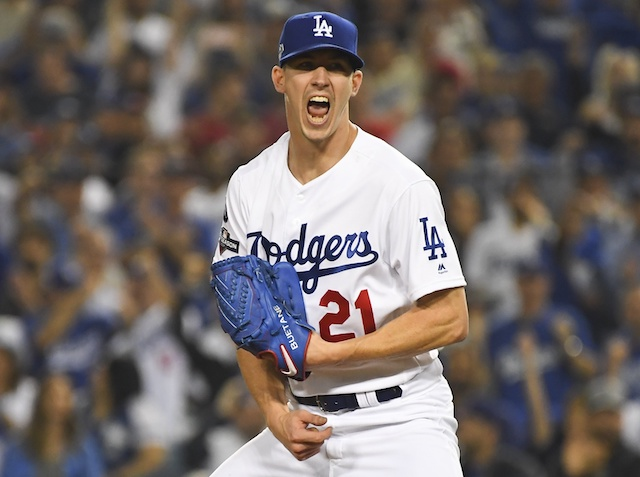 Los Angeles Dodgers starting pitcher Walker Buehler reacts during Game 5 of the 2019 NLDS