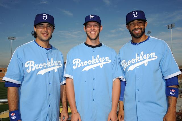 Andre Ethier, Clayton Kershaw, Matt Kemp, Brooklyn jerseys