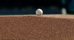 General view of a abseball on a pitcher's mound