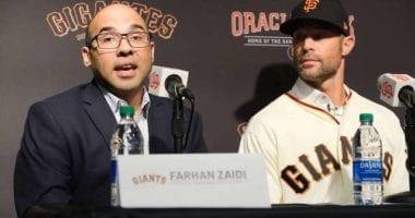 San Francisco Giants president of baseball operations Farhan Zaidi introduces new manager Gabe Kapler