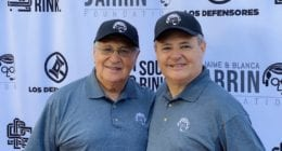 Jaime Jarrín and Jorge Jarrín on the red carpet at the first annual Jaime & Blanca Jarrín Foundation Golf Classic at the San Gabriel Country Club
