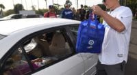 Los Angeles Dodgers outfielder Joc Pederson at the annual Thanksgiving giveaway