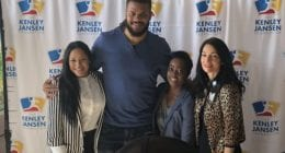 Los Angeles Dodgers relief pitcher Kenley Jansen with Los Angeles Dodgers Foundation CEO Nichol Whiteman during an appearance at UCLA Mattel Children's Hospital on behalf of the Kenley Jansen Foundation
