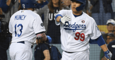 Los Angeles Dodgers teammates Max Muncy and Hyun-Jin Ryu