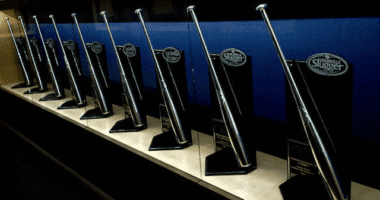 General view of Sliver Slugger Award trophies at Dodger Stadium