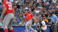 Washington Nationals teammates Anthony Rendon and Stephen Strasburg during a game against the San Diego Padres