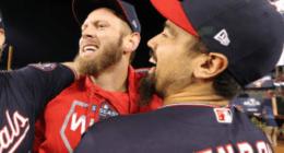 Washington Nationals teammates Anthony Rendon and Stephen Strasburg celebrate after winning the 2019 NLCS