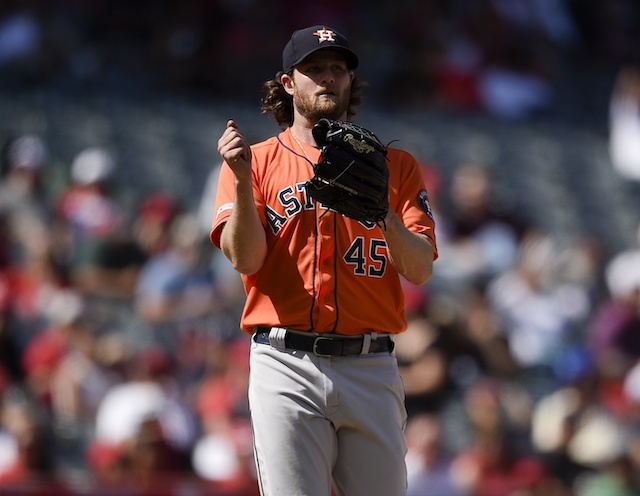Houston Astros starting pitcher Gerrit Cole reacts during a game against the Los Angeles Angels