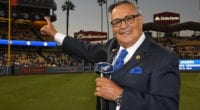 Los Angeles Dodgers Spanish-language broadcaster Jaime Jarrín during his Dodger Stadium Ring of Honor induction ceremony