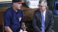 Houston Astros manager AJ Hinch and general manager Jeff Luhnow