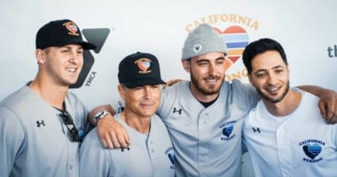Cody Bellinger, Ryan Braun, Jared Goff, Rob Lowe on the red carpet at the 2020 California Strong Celebrity Softball Game