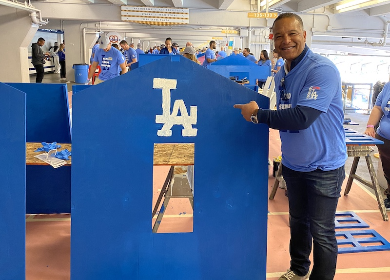 Los Angeles Dodgers manager Dave Roberts after painting a portion of a playhouse on Day of Service at Dodger Stadium during the 2020 Dodgers Love L.A. Community Tour
