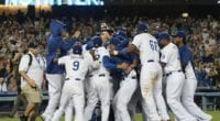 Los Angeles Dodgers celebrate after Clayton Kershaw throws a no-hitter against the Colorado Rockies