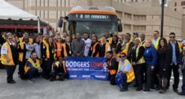 Fernando Valenzuela visits Metro division 13 during 2020 Dodgers Love L.A. Community Tour