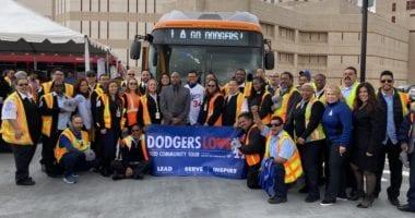 Fernando Valenzuela visits Metro division 13 during 2020 Dodgers Love L.A. Community Tour