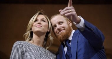 Kourtney and Justin Turner at Los Angeles City Hall on Justin Turner Day during the Dodgers Love L.A. Community Tour
