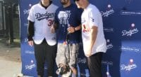 Matt Beaty and Joc Pederson with a fan at Pet Family Photo Day during the 2020 Dodgers Love L.A. Community Tour