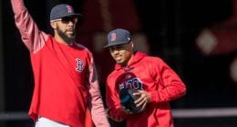 Boston Red Sox teammates Mookie Betts and David Price during Spring Training