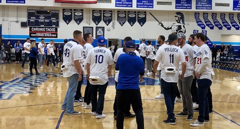 Walker Buehler, Caleb Ferguson, A.J. Pollock, Ross Stripling, Justin Turner, 2020 Dodgers Love L.A. Community Tour
