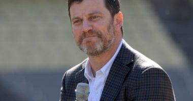 Andrew Friedman during the Los Angeles Dodgers introductory press conference at Dodger Stadium