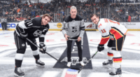 Chase Utley drops the ceremonial puck for Dodgers Night hosted by the L.A. Kings