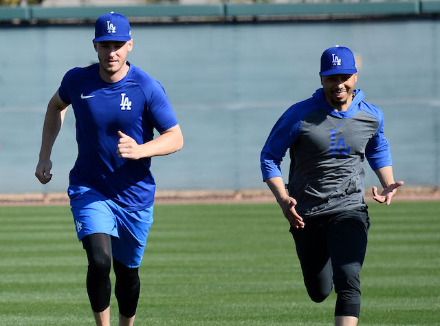 Los Angeles Dodgers teammates Cody Bellinger and Mookie Betts during a 2020 Spring Training workout at Camelback Ranch