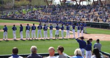 Dino Ebel, Bob Geren, George Lombard, Gavin Lux, AJ Pollock, Dave Roberts, Chris Taylor, Justin Turner, Dodgers lined up, 2020 Spring Training