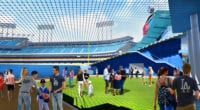 Dodger Stadium renovation rendering, batters eye, center field area