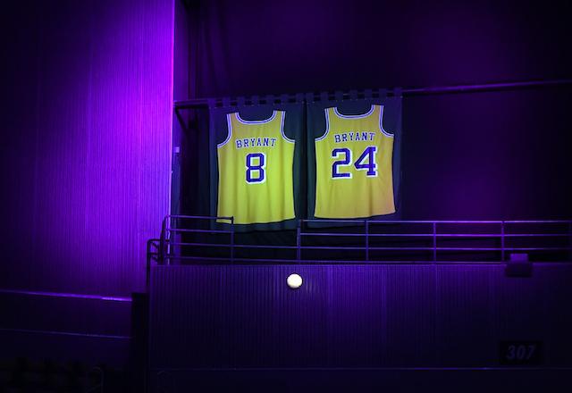 Kobe Bryant retired jerseys at Staples Center