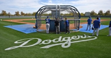Matt Beaty, Tyler White, batting practice, 2020 Spring Training