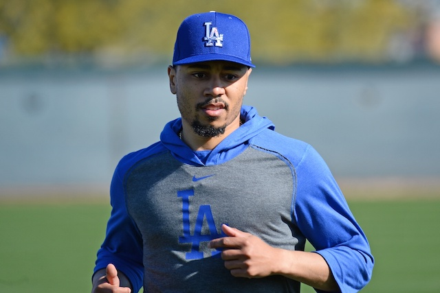 Los Angeles Dodgers outfielder Mookie Betts during an unofficial Spring Training workout at Camelback Ranch