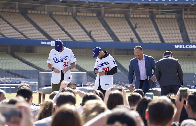 Los Angeles Dodgers president of baseball operations Andrew Friedman with manager Dave Roberts and Mookie Betts and David Price during the introductory press conference at Dodger Stadium