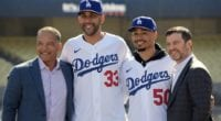 Mookie Betts, Andrew Friedman, David Price and Dave Roberts during the Los Angeles Dodgers introductory press conference at Dodger Stadium