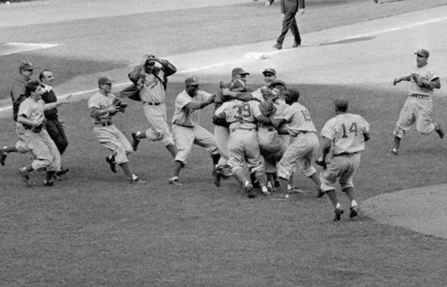 Brooklyn Dodgers celebrate after defeating the New York Yankees in seven games of the 1955 World Series