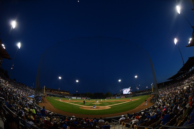 Camelback Ranch view, home plate net, 2020 Spring Training