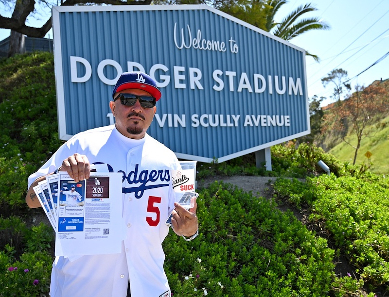 Dodger Stadium sign, Dodgers fan, tickets, 2020 Opening Day