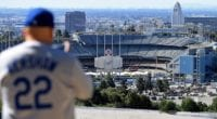 Dodger Stadium view, Dodgers fan, Clayton Kershaw, 2020 Opening Day