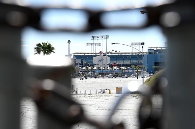 Dodger Stadium view, parking lot entrance