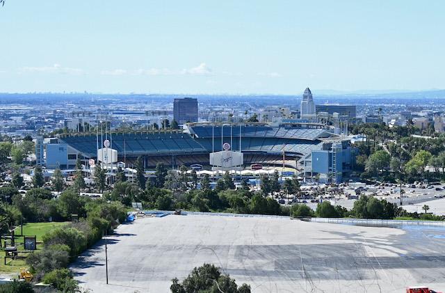 Dodger Stadium view, parking lot