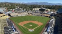 General view of Dodger Stadium with construction progressing as part of the 2020 renovations