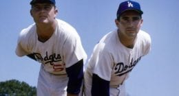 Los Angeles Dodgers starting pitchers Don Drysdale and Sandy Koufax
